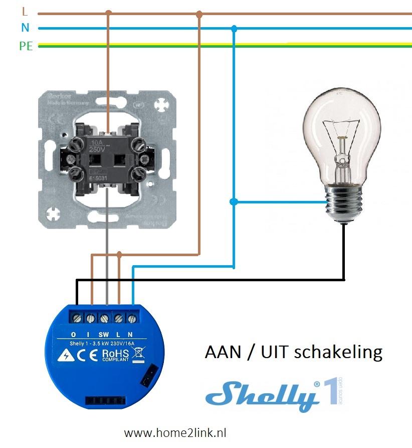 Shelly 1 aansluitschema